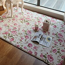 Romantische FADFAY Heimtextilien, American Country Style-Floral Room Fußmatten, Teppichen, Sweet Pink, Rose For Living Room, Modern, Design, Blume, Ornament, Shabby Style, rose, Size:70*140cm
