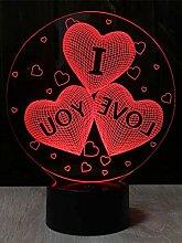 Romantische Herzballon-3D-Illusions-Lampe,