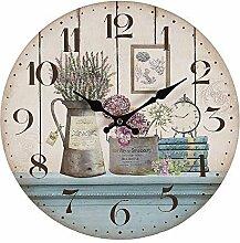 Romantische Landhaus Wanduhr mit Lavendel und Blumen, Rustikale Küchenuhr