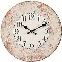 Romantische Landhaus Wanduhr mit Rosenblüten Rand, Rustikale Rosen Uhr