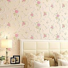 Romantische rosa Garten Tapete/Vliestapete/3DDreidimensionalen Relief geprägte Tapete/Wohnzimmer Schlafzimmerwände-A