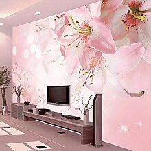 Romantische Rosa Lilie Blumen Fototapete Für