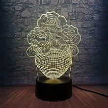 Romantische Rose Blume 3D LED USB Nachtlicht Lampe