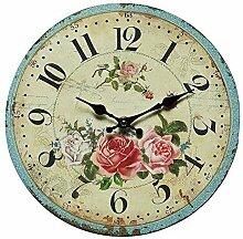Romantische Rosenuhr, Retro Wanduhr mit Rosenmotiv im Landhaus Stil, Uhr