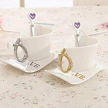 Romantisches Herz Gestalten Paar Liebhaber Becher Keramik Tassen Kaffeetassen Katzenliebhaber Reisebecher 1 Set 2 Tassen mit 2 Teller und Löffel (Weiß)