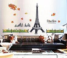 Romantisches Paris Eiffelturm Gebäude Ahorn Blätter Wandtattoo House Aufkleber abnehmbarer Wohnzimmer Tapete Schlafzimmer Küche Art Bild Wandmalereien Sticks PVC Fenster Tür Dekoration + 3D Frosch Auto Aufkleber Geschenk