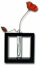 ROMBOL Vase, Holzvase, mit Glaseinsatz, Höhe 20