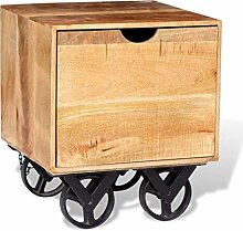 ROMELAREU Beistelltisch mit Schublade und Rädern