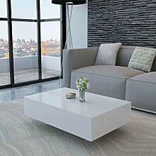 ROMELAREU Couchtisch Hochglanz Weiß Möbel Tische