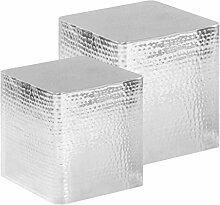 ROMELAREU Couchtische 2 STK. Silbern Aluminium