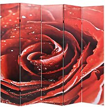 ROMELAREU Raumteiler klappbar 200 x 180 cm Rose
