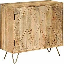 ROMELAREU Sideboard Mangoholz Massiv 80 x 30 x 75