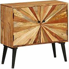 ROMELAREU Sideboard Mangoholz Massiv 85x30x75 cm