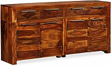 ROMELAREU Sideboard Sheesham-Holz Massiv 160x35x75