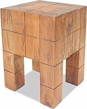 ROMELAREU Sitzhocker Recyceltes Massivholz 28 x 28