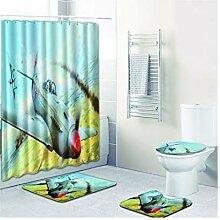 ROMQUEEN Badezimmerteppich mit floralem Muster,