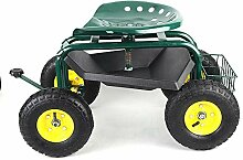 ROMYIX Gartenwagen mit Rollsitz Arbeitsgerät,
