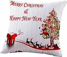 Ronamick Weihnachten Kissenbezug Kissenhülle 45x45cm Polyester faser Glückliche Bunte Gedruckt Muster Atmungsaktiv Sofa Bett Home Decorative Weich Fall Auto (A)