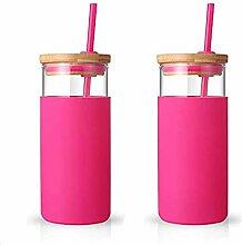ronco 590 ml Glas Trinkflasche, Strohhalm,