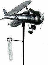 Roomando Gartenstecker Flugzeug Metallstecker