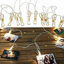 Roomando Lichterkette Metall Foto-Clip mit 10 LEDs