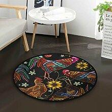 Rooster Sunflower Vintage Round Area Teppich für