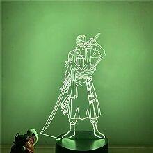 Roronoa Zoro 3D Illusion Lampe LED Nachtlicht,