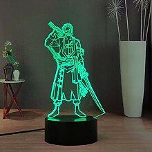 Roronoa Zoro 3D-Nachtlicht für Kinder, japanische