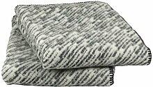 Roros Tweed: creme-grau-dunkelgrau gestichelte Wolldecke 'Giboulée', ca 130x200cm, 100% Lambswool, ca 1100 g