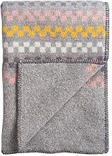 Roros Tweed: Graue Wolldecke 'Toskaft' mit Schachbrettmuster in gelb, rosé und creme, 100% norwegische Lambswool, ca 135 cm x 200 cm