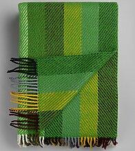 Roros Tweed, große grün Gestreifte Wolldecke aus