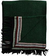 Roros Tweed: Leichte dunkelgrün-schwarz schraffierte Wolldecke mit bunter Bordüre, 150x210cm mit Fransen, 100% Lambswool
