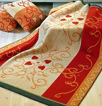 Roros Tweed: Orange rote Jacquard Wolldecke mit Rankenmuster aus skandinavischer Schurwolle im Landhausstil 130x200cm umkettelt - ca 1,4kg