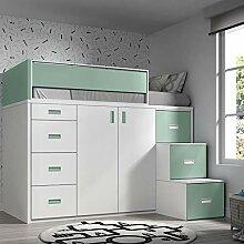 ROS Möbel Hochbett mit Schrank und Schubladen,