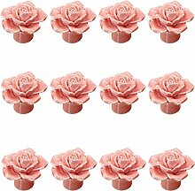 Rosa 12PCS Keramik-Rosen-Blumen-Knopf Porzellan