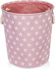 Rosa Aufbewahrungsbox aus Leinen mit Sternen