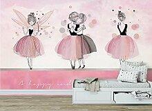 Rosa Ballerina-Mädchenzimmer Vlies Fototapete