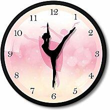 Rosa Ballerina Wanduhr Mit Tanzenden Nadelpfeilen