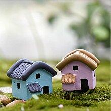Rosa Blau Kleines Haus Puppenhaus Micro Landschaftsgarten-Dekoration DIY Harz Handwerk Zubehör für Handwerk Topfpflanzen