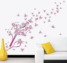 Rosa Bleistift Schmetterling Blume Wandaufkleber