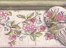 Rosa Blumen auf Vine über Herzen Vintage Tapete
