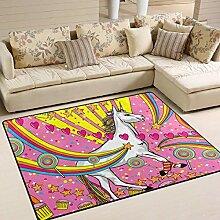 Rosa Einhorn-Teppich 4 'x 6',