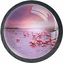 Rosa Flamingos 4 Stück Schubladenknöpfe Kommode