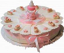 rosa Gastgeschenke Torte zur Geburt Taufe Mädchen
