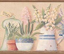 Rosa Gelb Blau Blumen in Töpfen Floral Tapete