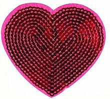 Rosa Herzform Kleidung Sewing Patch Pailletten Mode-Accessoires Set 5