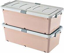 Rosa Kunststoff Aufbewahrungsbox mit Rädern und