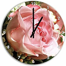 Rosa Pfingsrose, Wanduhr Durchmesser 30cm mit