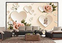 Rosa Rose 3D Tapeten -430Cmx310Cm Schöne Blumen