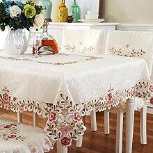 Rosa rose pastoral stickerei tisch tuch Stoff-tischdecke-A 85x145cm(33x57inch)